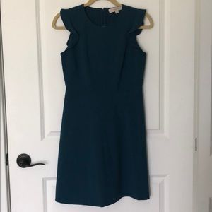 Loft petite teal dress a-line with ruffles 2 p